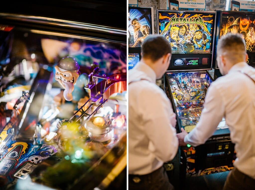 Groom plays pinball